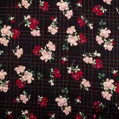 Fibranne Viscose Imprimé Carreaux et Rose Rouge fond Noir