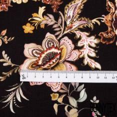 Crêpe Viscose Satiné Imprimé Floral Cachemire fond Noir