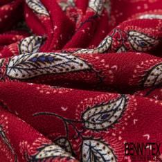 Crêpe Polyester Imprimé Feuille Esprit Cachemire fond Rouge