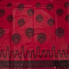 Wax Africain N° 752: Double Base Motif Bout Plume de Paon Noir fond Rouge