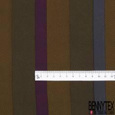 Coupon 3m Crêpe de Soie N°161: Motif Rayure Verticale Chevron Kaki Violet Bleu