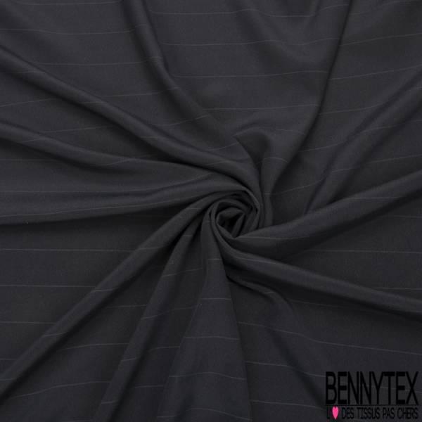 Coupon 3m Crêpe de Soie N°162: Motif Rayure Horizontale Souris fond Noir