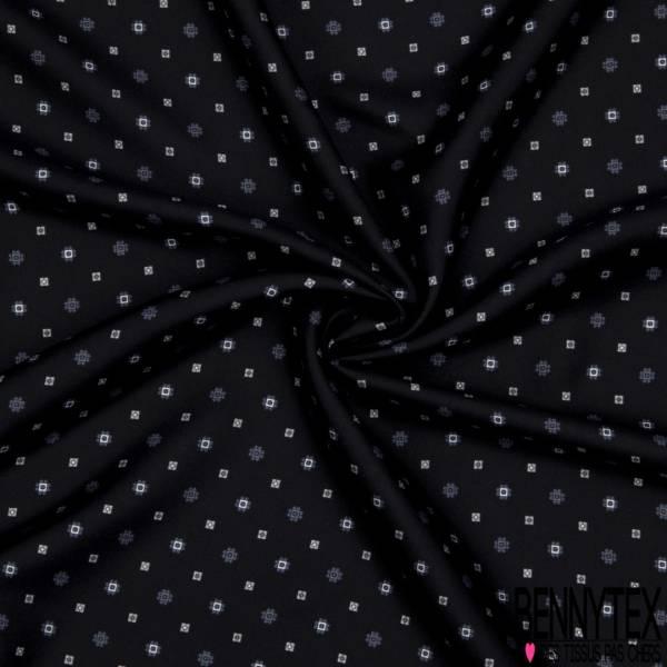 Coupon 3m Carrés Crêpe de Soie N°163: Petit Motif Fantaisie fond Noir