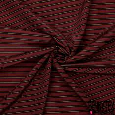 Coupon 3m Crêpe de Soie N°166: Motif Rayure Horizontale Noir Orange Rouge Bordeaux