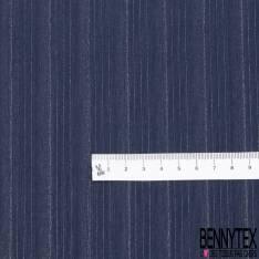 Coupon 3m Crêpe de Soie N°169: Motif Rayure Verticale Ton sur Ton Marine