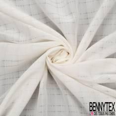 Coupon 3m Crêpe de Soie N°172: Motif Quadrillage Ton sur Ton Blanc Cassé