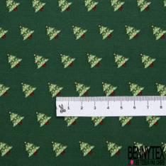 Coupon 3m Carré de Satin de Soie N°199: Motif Petit Sapin de Noël en Diagonale fond Vert Bouteille