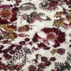 Guipure Coton Ecru Imprimé Floral Bi face