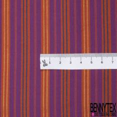 Coupon 3m Carré de Satin de Soie N°200: Motif Rayure Horizontale Berlingot Violet Orange