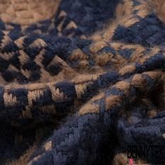 Laine Fluide et Douce Motif Quadrillage Triangle Bleu Nuit Camel