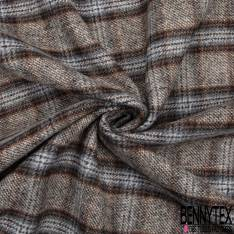 Laine Tartan Chiné Coloris Marron Gris Double Face Uni Anthracite
