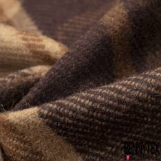 Laine Tartan Souple Coloris Marron Camel Beige
