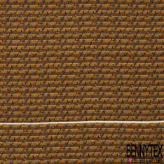 Coupon 3m Carré de Crêpe de Soie N°195: Motif Guirlange Branche Noir fond Rayé Ocre Camel