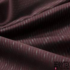 Coupon 3m Carré de Satin de Soie N°198: Motif Rayure Fantaisie Perle Diagonale fond Bordeaux