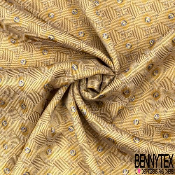 Coupon 3m Carré de Satin de Soie Sergé N°183: Motif Spirale dans Losange Strié fond jaune Pastel