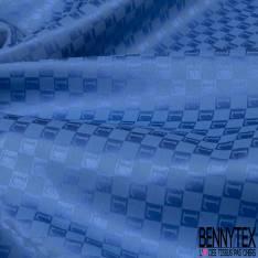Coupon 3m Carré de Satin de Soie Sergé N°184: Motif Lettre L fond Bleu