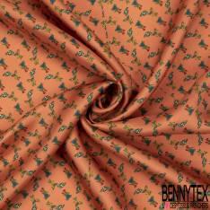 Coupon 3m Carré de Satin de Soie N°179: Motif Petite Tondeuse Parterre Floral fond saumon