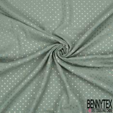 Coupon 3m Coton Double Gaze Emeraude Etoile Relief Or