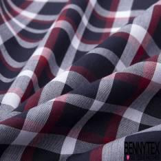 Coton Petit Carreau Nuit Rouge Blanc
