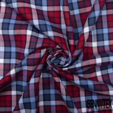Drap de Coton Petit Carreau Ciel Rouge Navy Rouge Blanc