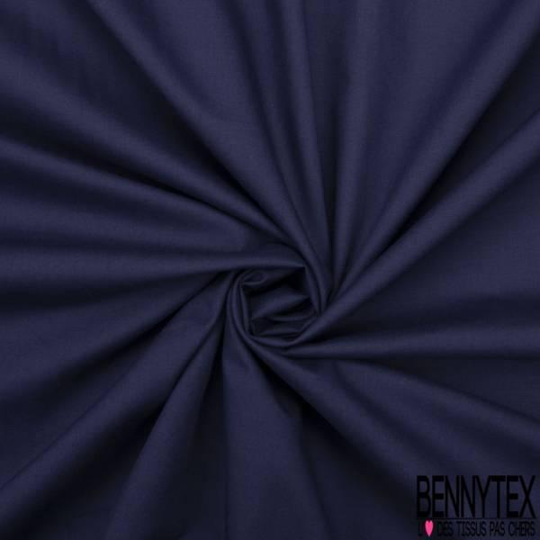 Voile de Coton Uni Satiné Bleu Nuit Elasthanne