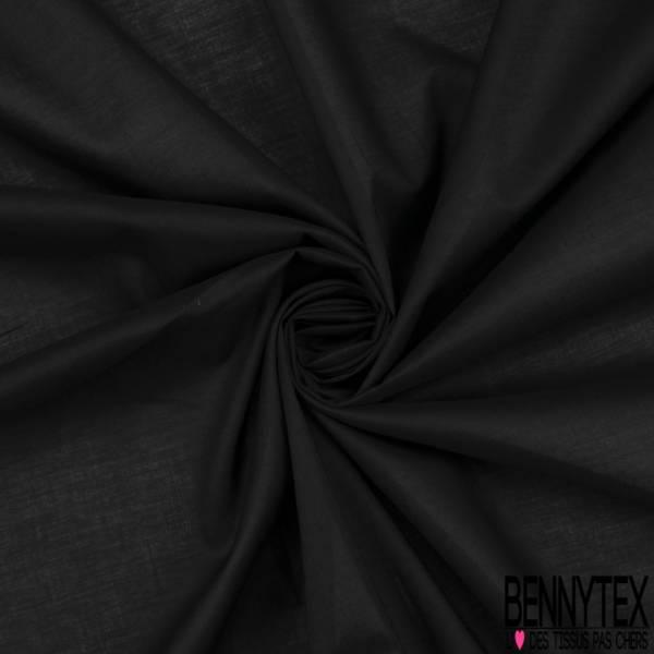 Voile de Coton Uni Satiné Noir Elasthanne