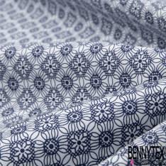 Coton Motif Floral Fantaisie Marine fond Blanc
