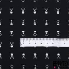 Coton Motif Tête de Mort Blanc fond Noir