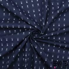 Coton Motif Tête de Mort Blanc fond Marine