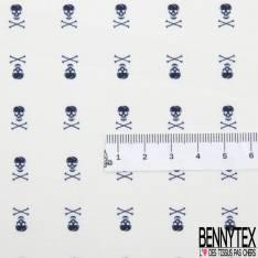 Coton Motif Tête de Mort Marine fond Blanc