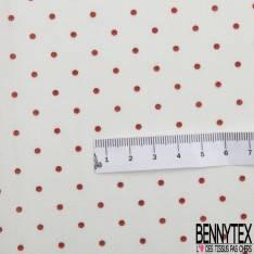 Coton Motif Petit Pois Rouge fond Blanc