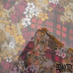 Mousseline de Soie Imprimé Floral Baroque fond Tartan Rouge Fushia