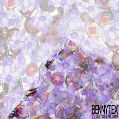 Mousseline de Soie Imprimé Floral Violet et Patch Multicolore