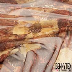 Mousseline de Soie Imprimé Champêtre Automnal Brun Orange Beige