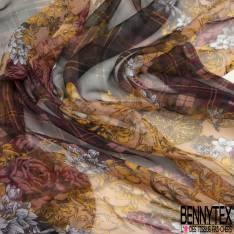 Mousseline de Soie Imprimé Baroque Floral fond Carreaux Prune