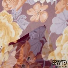 Mousseline de Soie Imprimé Grande Tulipe et Pivoine fond Violine