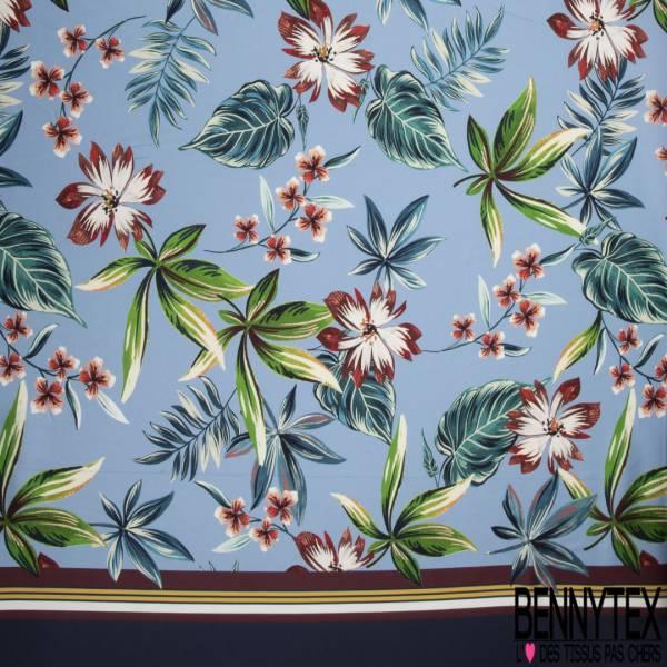 Satinette Polyester Double Base Imprimé Fleur Tropicale fond Bleu