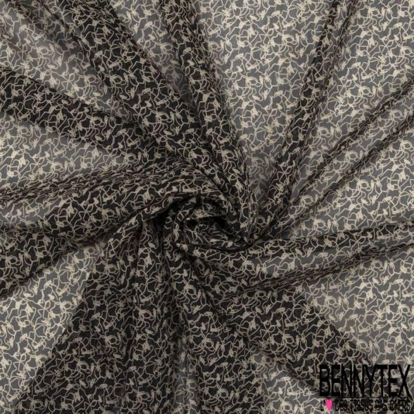 Mousseline de Soie Crépon Imprimé Abstrait fond Lavis Kaki Moutarde