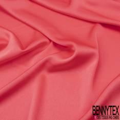 Crêpe Polyester Envers Satin Elasthanne Fluide Rose Grenadine