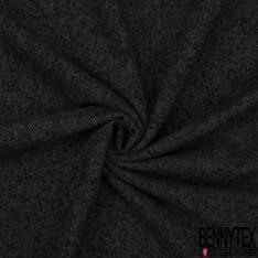 Mohair de Laine Chevron Anthracite Noir Fluide