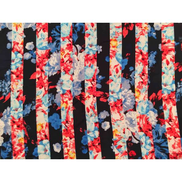 Microfibre Imprime Bandes Bleues Maines Fleurs BLeu Corail Ciel Jaunes