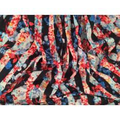 Microfibre Imprime Bandes Blanches Marines Fleurs Rouges Roses Corails Peche Bleues