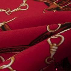 Crêpe Viscose imprimé Ceinture Cuir Chic Entremêlée fond Rouge Profond