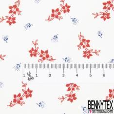 Coton Elasthanne Motif Minuscule Fleur Rouge avec Tige et Marine fond Blanc