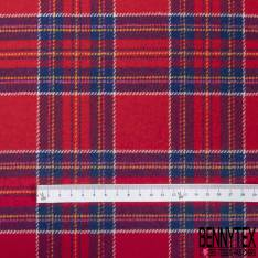 tartan de Laine Gros Carreaux Bleu Roi Blanc Jaune fond Rouge Pompier