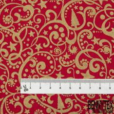 Coton de Noël Imprimé Arabesque Or fond Rouge