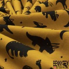Jersey Coton Elasthanne Imprimé petit Dinosaure Noir fond Moutarde