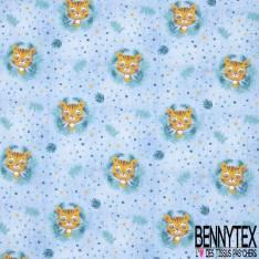 Jersey Coton Elasthanne Imprimé Tête de Tigre Enfantin dans la Savane fond Effet Bleu Jean Délavé