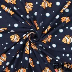 Jersey Coton Elasthanne Imprimé petit poisson Clown dans les Bulles fond Marine