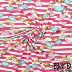Jersey Coton Elasthanne Imprimé Licorne dans les Nuages fond Rayure Blanc Rose